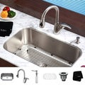 Kraus Commmercial-Grade Stainless-Steel Undermount Kitchen Sink/Faucet/Soap Dispenser