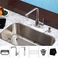 Kraus Stainless-Steel Undermount Kitchen Sink/Single Handle Faucet/Soap Dispenser