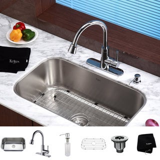Kraus Modern Stainless-Steel Undermount Kitchen Sink/Faucet/Soap Dispenser