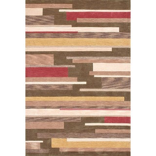 Hand-tufted Lyonese 'Floorboards' Green Rug (2'3 x 7'6)