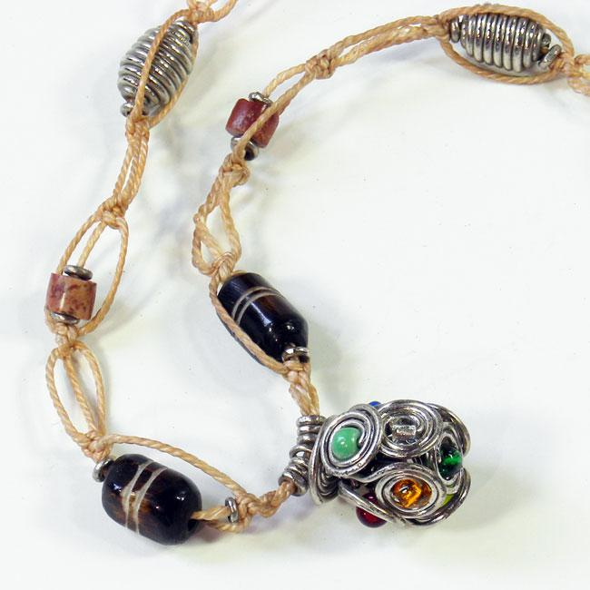 Recycled Car Tire Thread Pottery/ Metal Coil Necklace (Kenya)