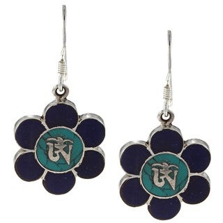 Sterling Silver Turquoise and Lapis Flower Earrings (Nepal)
