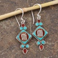 Sterling Silver Gemstone Kaal-Chakra Script Earrings (Nepal)