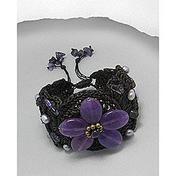 Woven Cotton Purple Amethyst and Pearl Flower Pull Bracelet (Thailand)