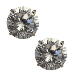 14k White Gold Basket-set Cubic Zirconia Stud Earrings