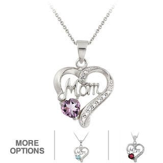 Glitzy Rocks Silver Gemstone and Diamond Accent Heart Necklace