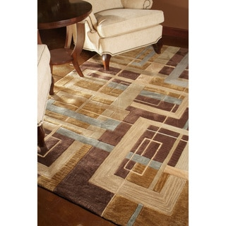 Hand-tufted Ackworth Brown Geometric Abstract Rug (5' x 7'6)