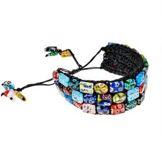 Cotton Modern Mosaic Pearl/ Gemstone Pull Bracelet (Thailand)