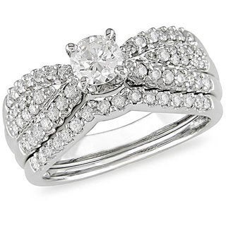 Miadora 14k White Gold 1ct TDW Diamond Bridal Set (H-I, I1-I2)
