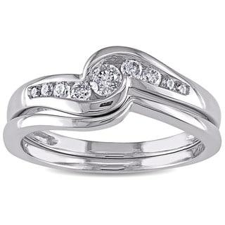 Miadora 14k White Gold 1/4ct TDW Diamond Bridal Ring Set (H-I, I2-I3)