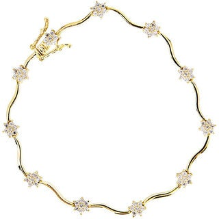 NEXTE Jewelry 14k Gold Overlay Cubic Zirconia Flower Tennis Bracelet