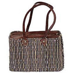 Straw and Leather Classic II Handbag (Morocco)