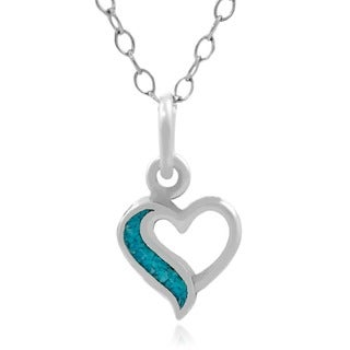 Journee Collection Sterling Silver Created Turquoise Heart Necklace