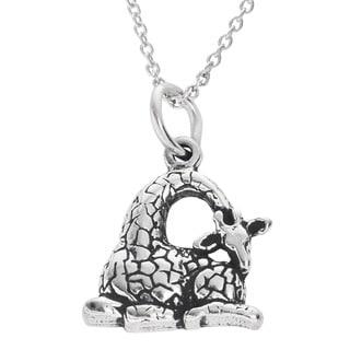 Journee Collection Sterling Silver Children's Giraffe Necklace