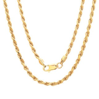 Sterling Essentials 14k Gold Plated Silver 24-inch Diamond-cut Rope Chain Necklace