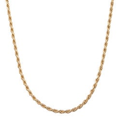 Sterling Essentials 14K Gold over Silver 30-inch Diamond-cut Rope Chain (2.5 mm)