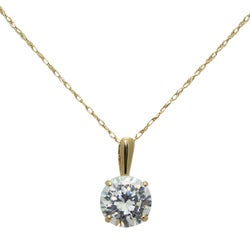 Gioelli 14k Yellow Gold Round-cut Cubic Zirconia Necklace