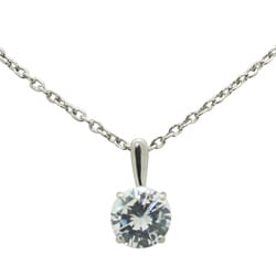 14k White Gold Round-cut Cubic Zirconia Necklace