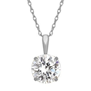Gioelli 14k White Gold Round-cut Cubic Zirconia Necklace
