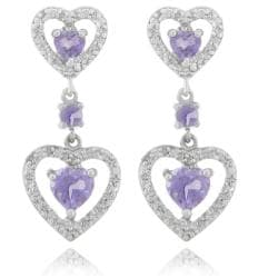 Dolce Giavonna Sterling Silver Amethyst and Diamond Accent Heart Dangle Earrings