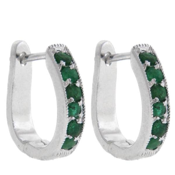 Dolce Giavonna Sterling Silver Emerald Hoop Earrings