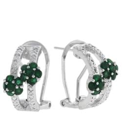 Dolce Giavonna Sterling Silver Emerald and Diamond Accent Flower Hoop Earrings