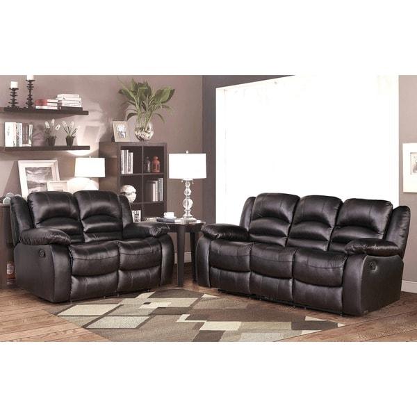 ABBYSON LIVING Brownstone Premium Top-grain Leather Reclining Sofa and Loveseat Set