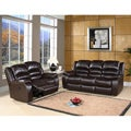Abbyson Living Brownstone Premium Top-grain Leather Reclining Sofa and Loveseat Set