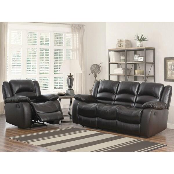 ABBYSON LIVING Brownstone Premium Top-grain Leather Reclining Sofa and Armchair Set