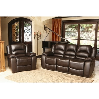 ABBYSON LIVING Brownstone Premium Top-grain Leather Reclining Sofa and Armchair Set