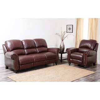 Abbyson Living Madison Premium Top-grain Leather Pushback Reclining Sofa and Armchair