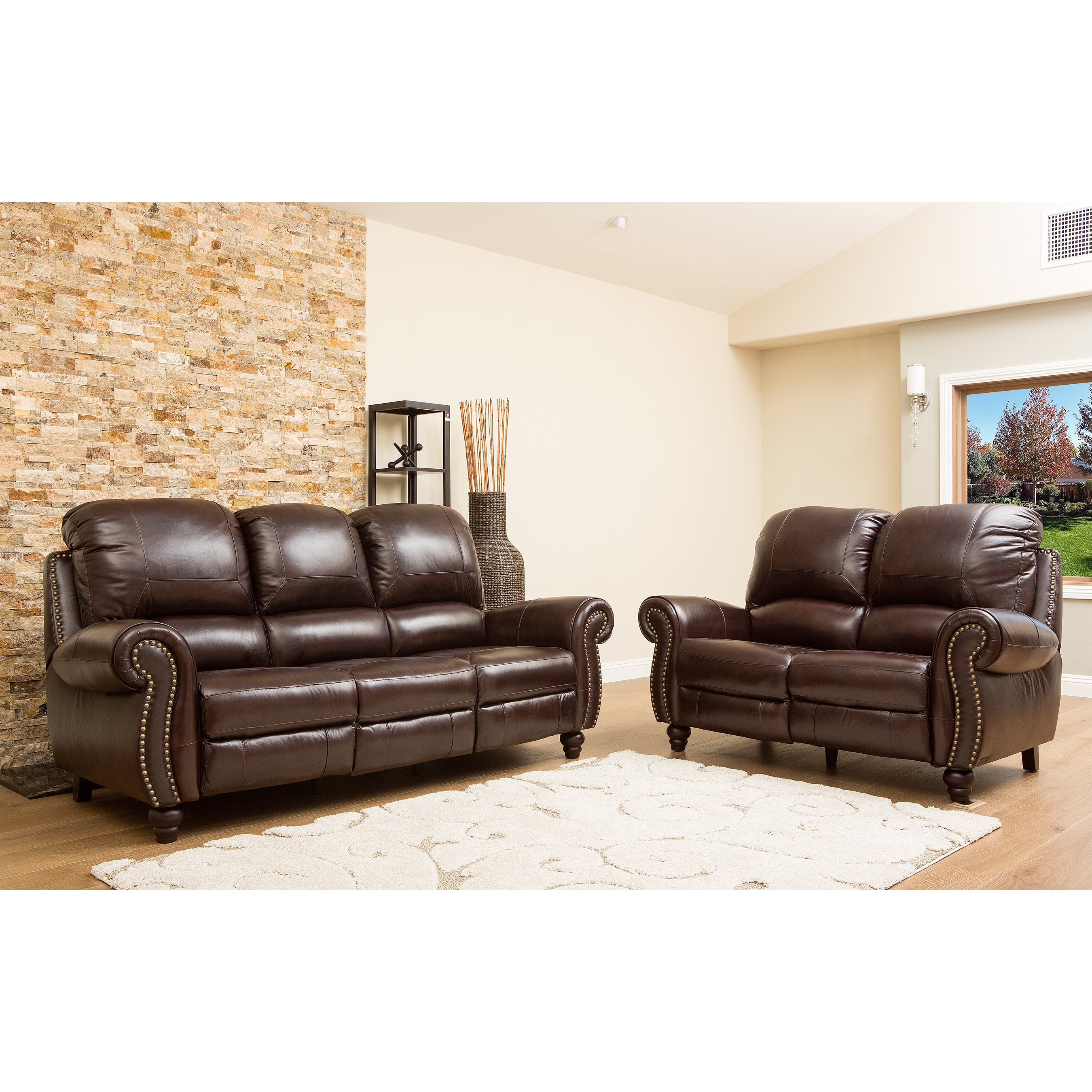 reclining sofa and loveseat premium leather pushback nail head couch