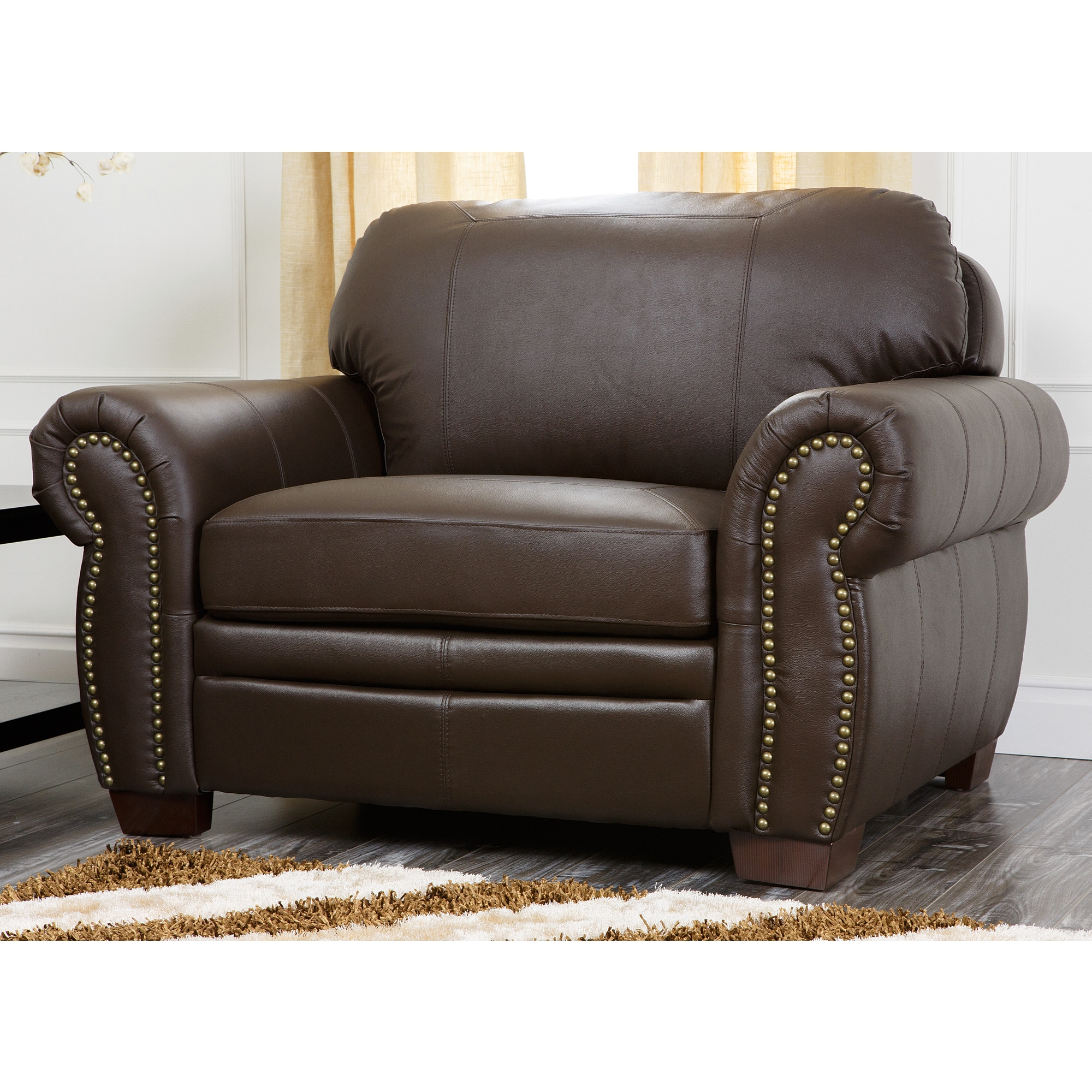 Abbyson living signature italian leather oversized chair for Oversized armchair