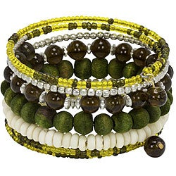 Olive Green Glass, Wood, and Bone Spiral Wrap Bracelet (India)