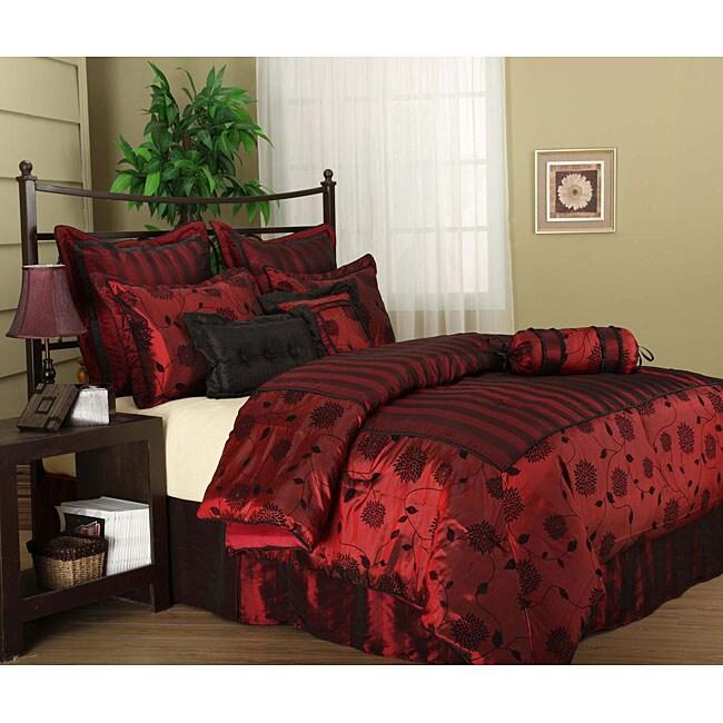 Evangeline 7-piece Flocking Luxury Comforter Set