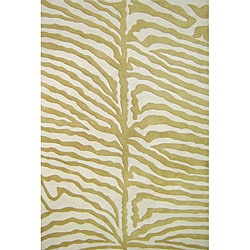 Alliyah Handmade Green New Zealand Wool Rug (4' x 6')