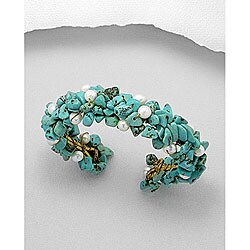 Brass Wire Cluster Turquoise and Pearl Cuff Bracelet (Thailand)