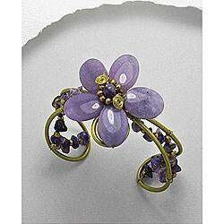 Brass Natural Amethyst Flower Cuff Bracelet (Thailand)
