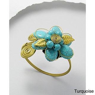 Brass Nature Loving Turquoise/ Onyx/ Carnelian/ Amethyst Adjustable Cuff Bracelet (Thailand)