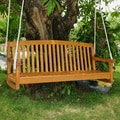 International Caravan Royal Tahiti Yellow Balau Hardwood Curved-back Three-seater Swing