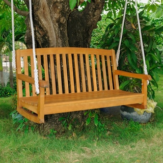 International Caravan Royal Tahiti Yellow Balau Hardwood Two-seater Swing with Curved Back