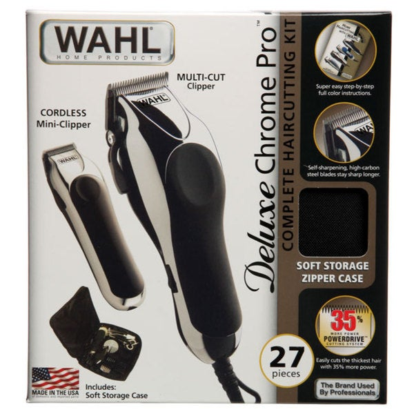 wahl deluxe chrome pro 27 piece complete haircutting kit 12932158 shopping. Black Bedroom Furniture Sets. Home Design Ideas