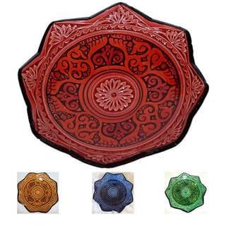 Handmade Ceramic 'Isabella' Engraved Decorative Plate (Morocco)
