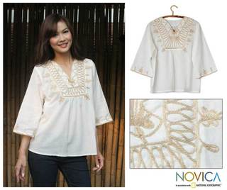 Women's Cotton 'Dance' Blouse (Thailand)