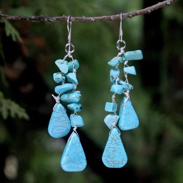 Sterling Silver 'Falling Rain' Beaded Waterfall Earrings (Thailand)