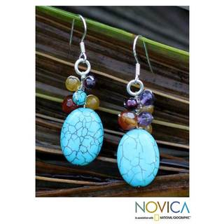 Citrine and Amethyst 'Confetti Blue' Dangle Earrings (Thailand)