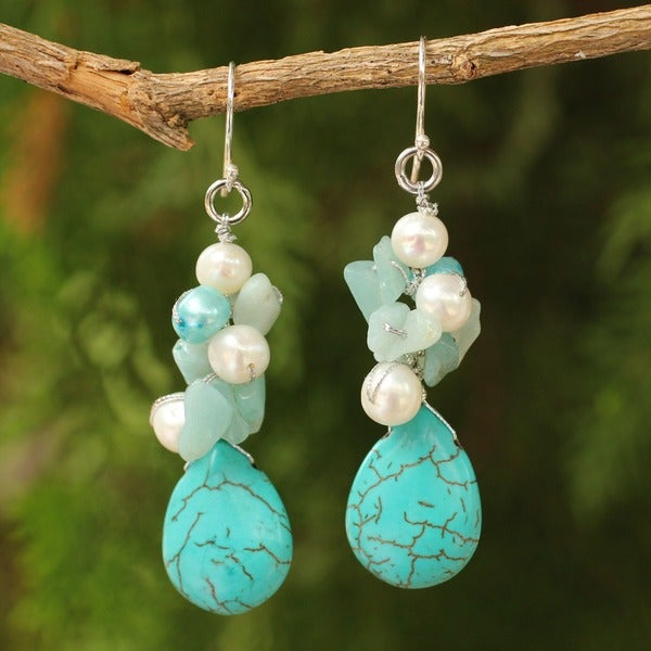 Silver 'Bluebells' Pearl and Amazonite Cluster Earrings (Thailand)