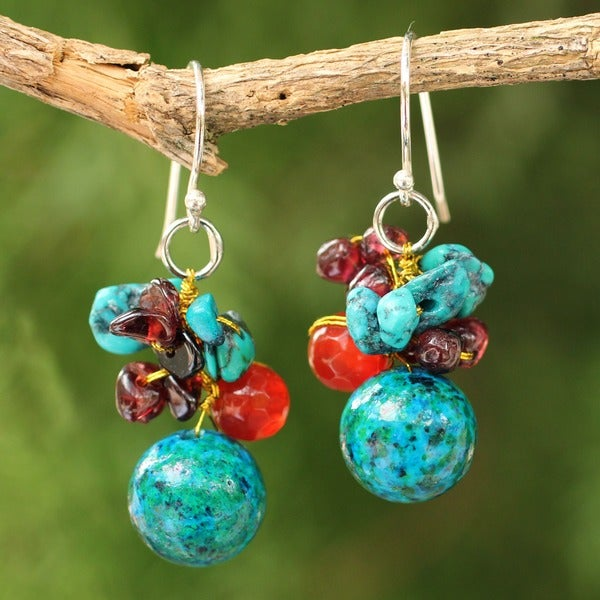 Handmade Garnet and Carnelian Tropical Orchard Red/Turquoise Cluster Dangling Style Earrings (Thailand)