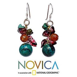Garnet and Carnelian 'Tropical Orchard' Cluster Earrings (Thailand)