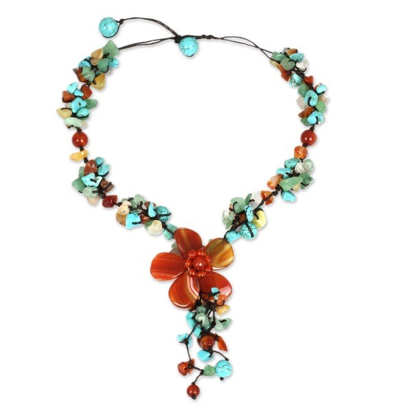 Handmade Agate and Carnelian Summer Flower Multicolor Floral Pattern Necklace (Thailand) 6929108